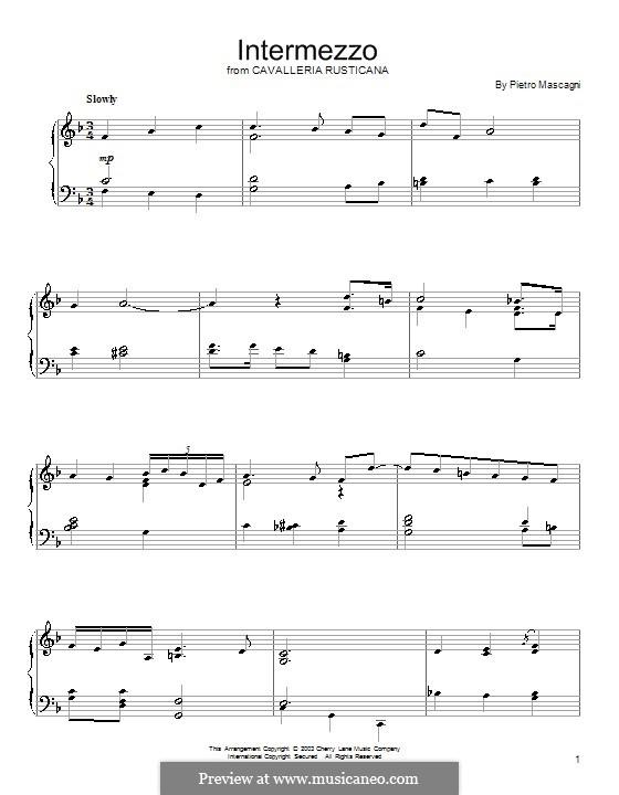 Cavaleria rusticana: Intermezzo, for piano by Pietro Mascagni
