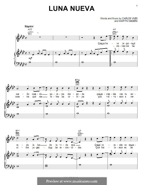 Luna Nueva (Carlos Vives): For voice and piano (or guitar) by Martín Madera