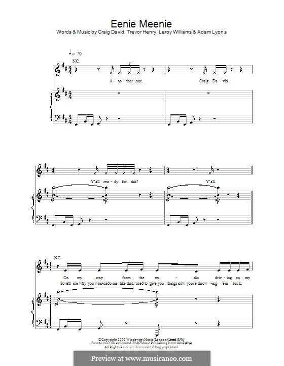 Eenie Meenie (Craig David): For voice and piano (or guitar) by Leroy Williams, Trevor Henry