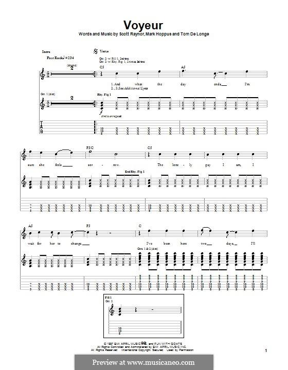 Voyeur (Blink-182): For guitar with tab by Mark Hoppus, Scott Raynor, Tom DeLonge