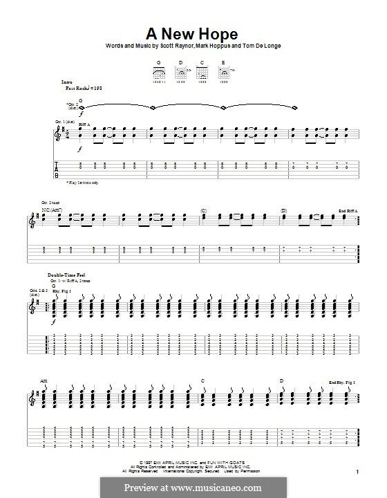 A New Hope (Blink-182): For guitar with tab by Mark Hoppus, Scott Raynor, Tom DeLonge