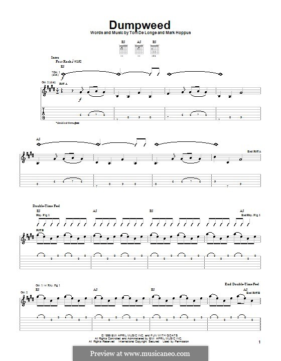 Dumpweed (Blink-182): For guitar with tab by Mark Hoppus, Tom DeLonge