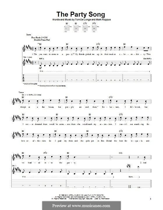 The Party Song (Blink-182): For guitar with tab by Mark Hoppus, Tom DeLonge