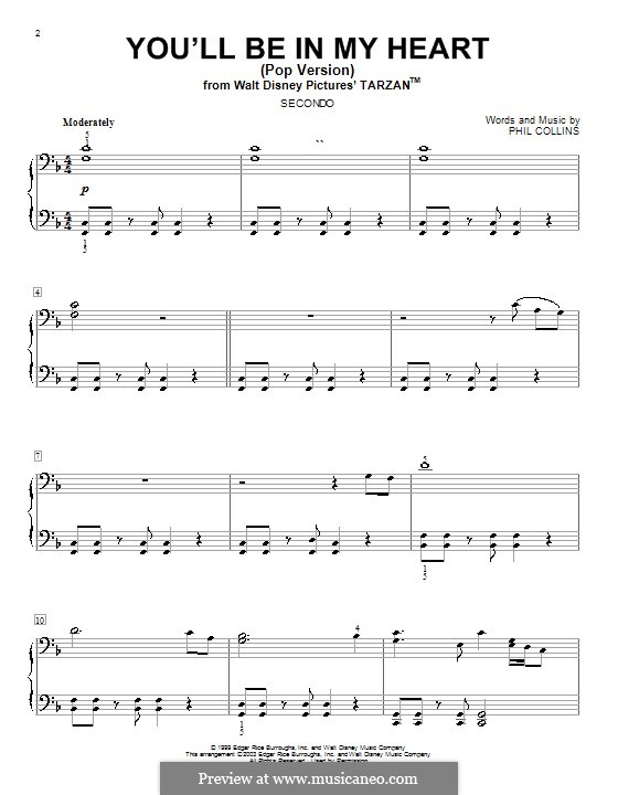 You'll Be in My Heart (from Walt Disney's Tarzan): For piano four hands by Phil Collins