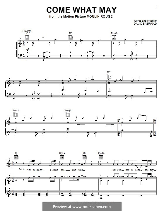 Come What May (from Moulin Rouge): For voice and piano or guitar (Nicole Kidman and Ewan McGregor) by David Baerwald