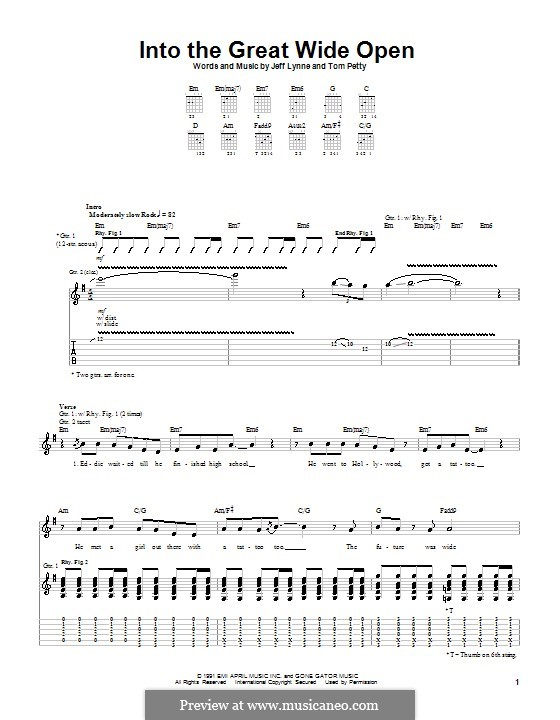 Into the Great Wide Open: For guitar with tab by Jeff Lynne