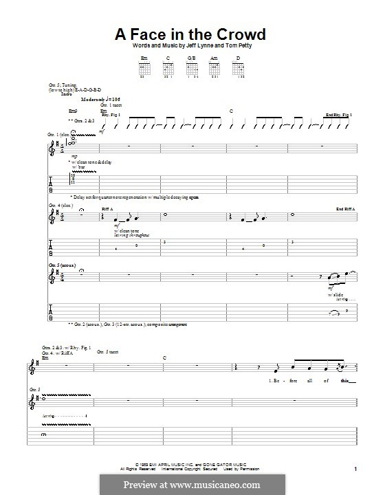 A Face in the Crowd: For guitar with tab by Jeff Lynne