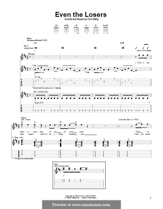 Even the Losers: For guitar with tab by Tom Petty