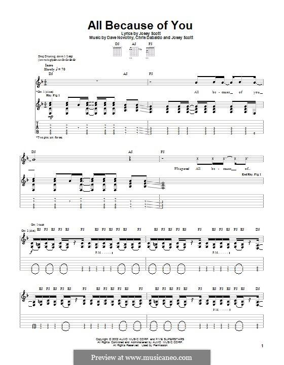 All Because of You (Saliva): For guitar with tab by Chris Dabaldo, Dave Novotny, Josey Scott