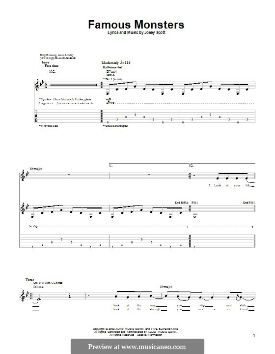 Famous Monsters (Saliva): For guitar with tab by Josey Scott