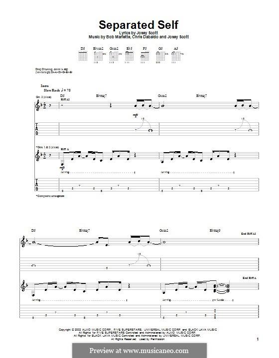 Separated Self (Saliva): For guitar with tab by Bob Marlette, Chris Dabaldo, Josey Scott