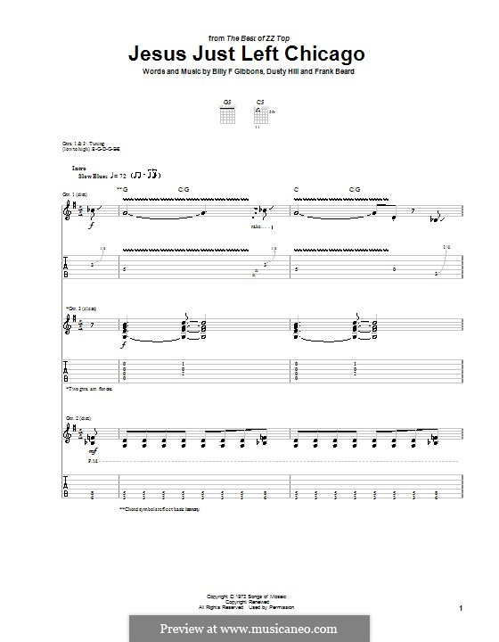Jesus Just Left Chicago (ZZ Top): For guitar with tab by Billy F Gibbons, Dusty Hill, Frank Lee Beard