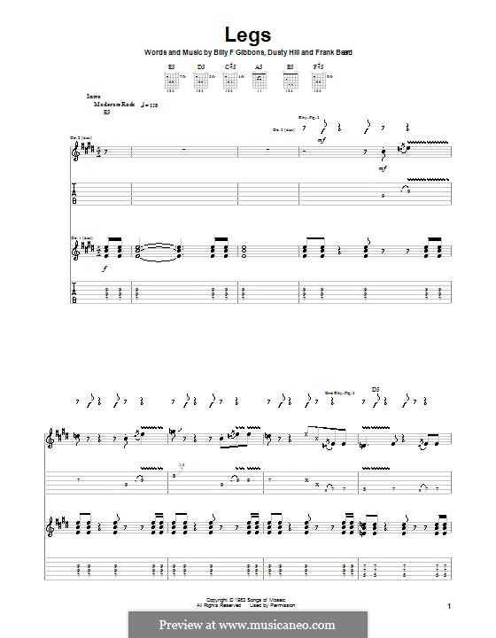 Legs (ZZ Top): For guitar with tab by Billy F Gibbons, Dusty Hill, Frank Lee Beard