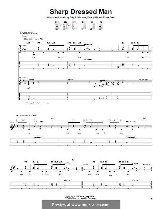 Sharp Dressed Man (ZZ Top): For guitar with tab by Billy F Gibbons, Dusty Hill, Frank Lee Beard