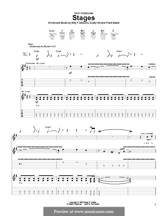 Stages (ZZ Top): For guitar with tab by Billy F Gibbons, Dusty Hill, Frank Lee Beard