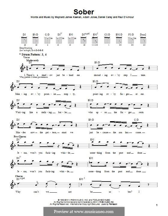 Sober (Tool): For guitar (very easy version) by Adam Jones, Daniel Carey, Maynard James Keenan