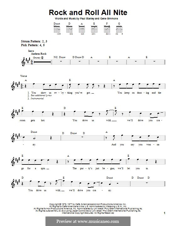 Rock And Roll All Nite Kiss For Guitar Very Easy Version: Nite And Day Sheet Music At Alzheimers-prions.com