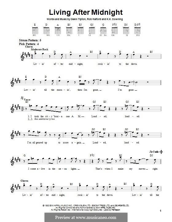 Living After Midnight (Judas Priest): For guitar (very easy version) by Glenn Tipton, K. K. Downing, Robert Halford