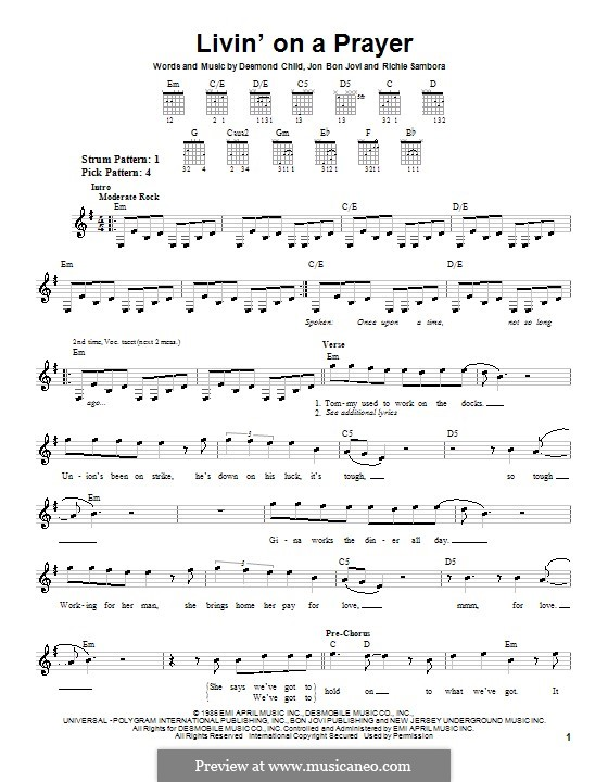 Livin' on a Prayer (Bon Jovi): For guitar (very easy version) by Desmond Child, Jon Bon Jovi, Richie Sambora