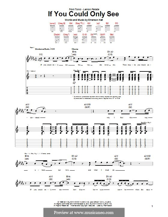 If You Could Only See (Tonic): For guitar with tab by Emerson Hart