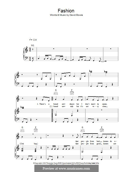 Fashion: For voice and piano (or guitar) by David Bowie