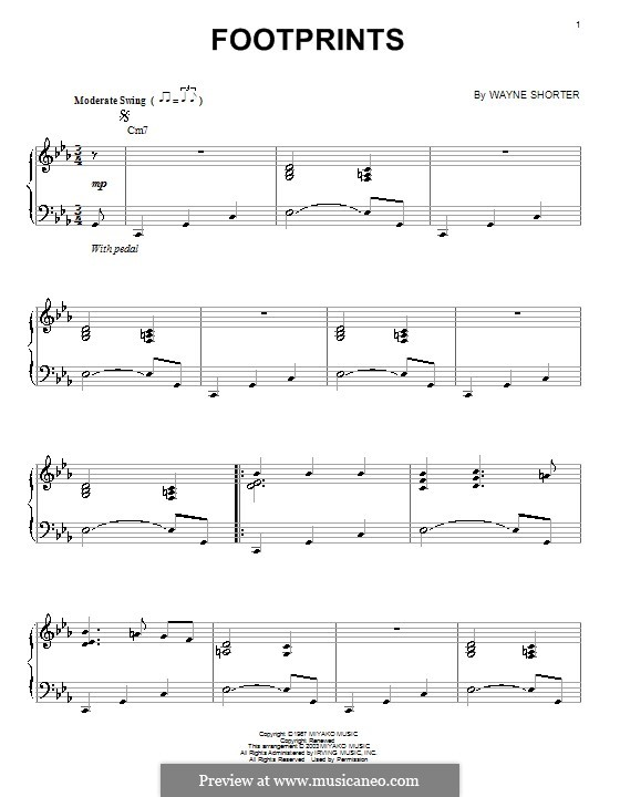 Footprints: For voice and piano (or guitar) by Wayne Shorter