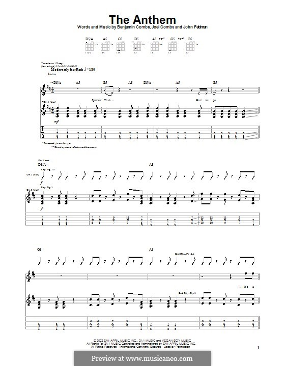 The Anthem (Good Charlotte): For guitar with tab by Benjamin Combs, Joel Combs, John Feldmann