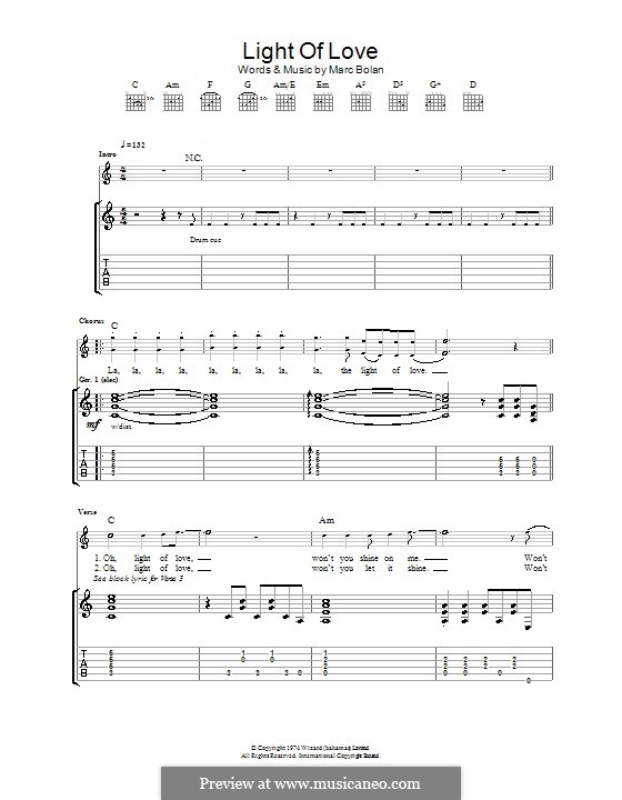 Light of Love (T Rex): For guitar with tab by Marc Bolan