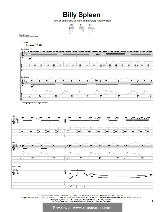 Billy Spleen (Sum 41): For guitar with tab by Greig Andrew Nori