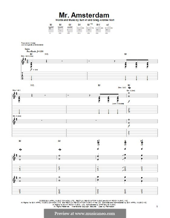 Mr. Amsterdam (Sum 41): For guitar with tab by Greig Andrew Nori