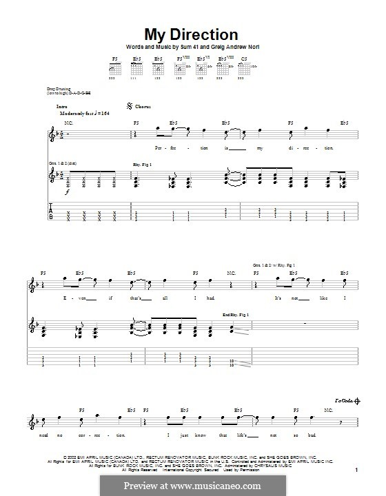 My Direction (Sum 41): For guitar with tab by Greig Andrew Nori