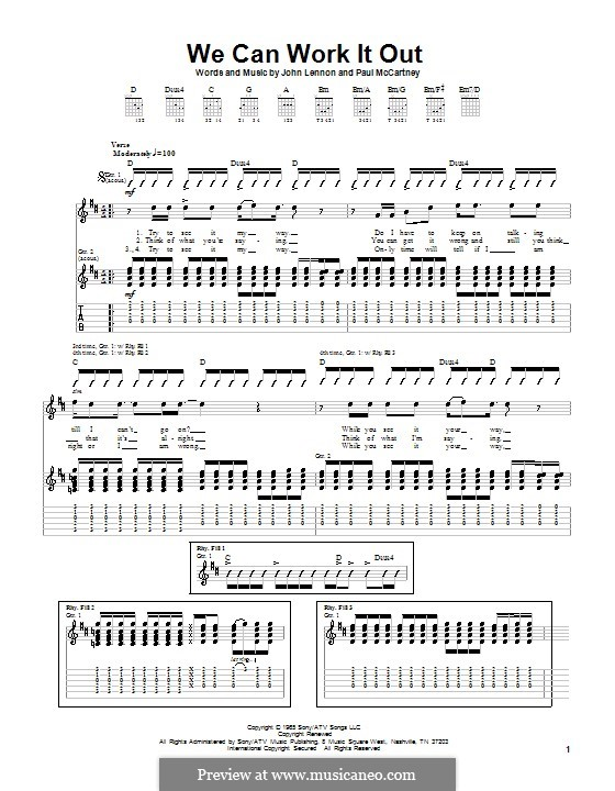 We Can Work it Out (The Beatles): For guitar with tabulature by John Lennon, Paul McCartney