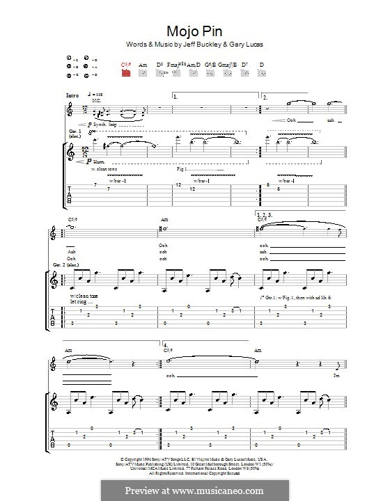 Mojo Pin: For guitar with tab by Gary Lucas