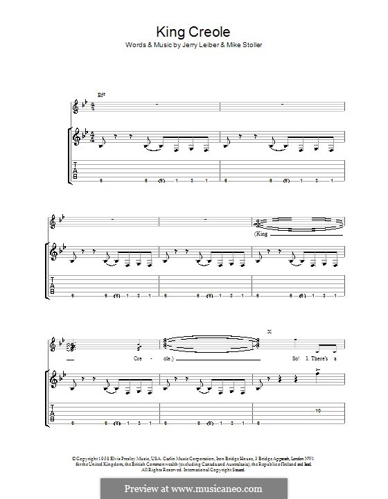 King Creole (Elvis Presley): For guitar with tab by Jerry Leiber, Mike Stoller