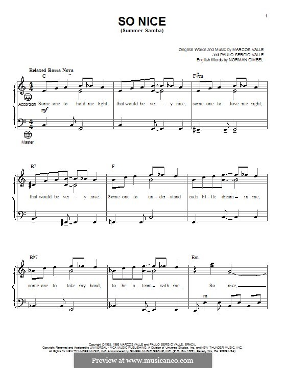 So Nice (Summer Samba): For accordion by Marcos Valle, Paulo Sergio Valle