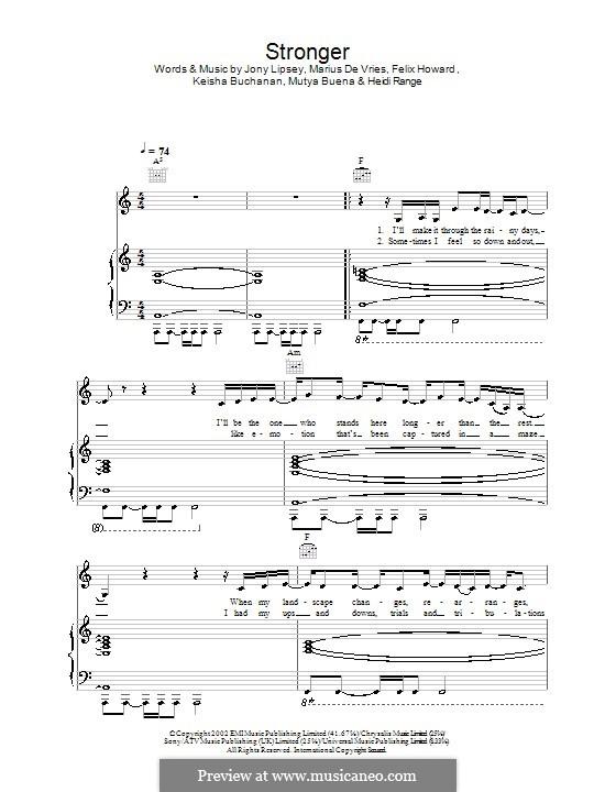Stronger (Sugababes): For voice and piano (or guitar) by Felix Howard, Heidi Range, Jonathan Lipsey, Keisha Buchanan, Marius De Vries, Mutya Buena