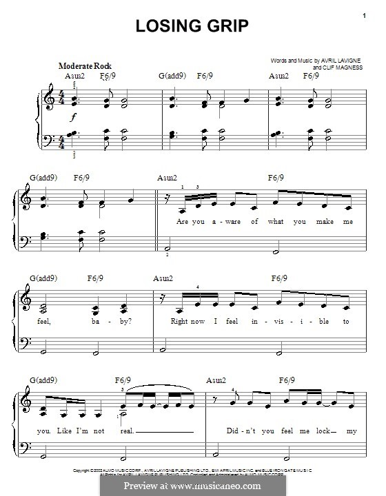 Losing Grip: For easy piano by Avril Lavigne, Clifton Magness
