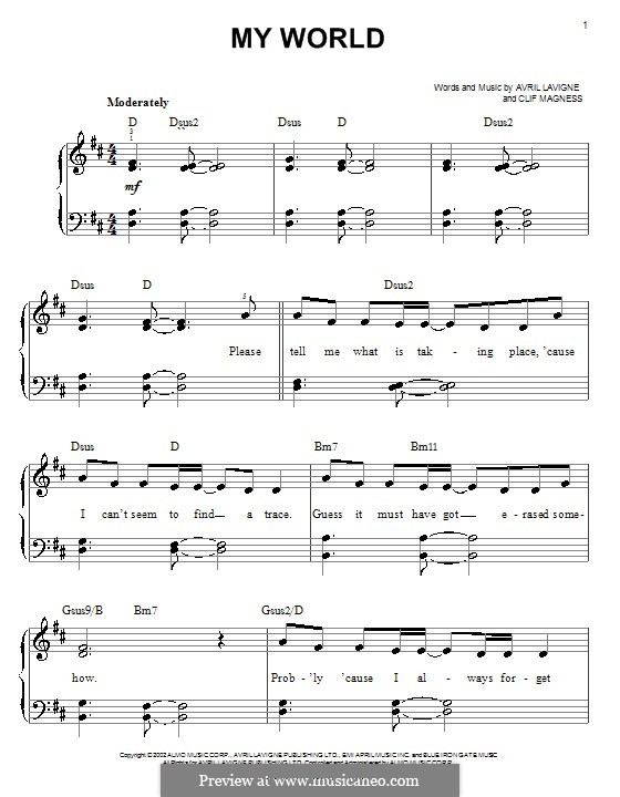 My World: For easy piano by Avril Lavigne, Clifton Magness