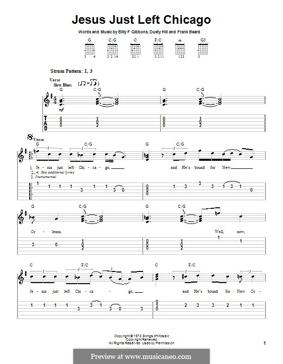 Jesus Just Left Chicago (ZZ Top): For guitar (very easy version) by Billy F Gibbons, Dusty Hill, Frank Lee Beard