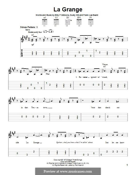 La Grange (ZZ Top): For easy guitar by Billy F Gibbons, Dusty Hill, Frank Lee Beard