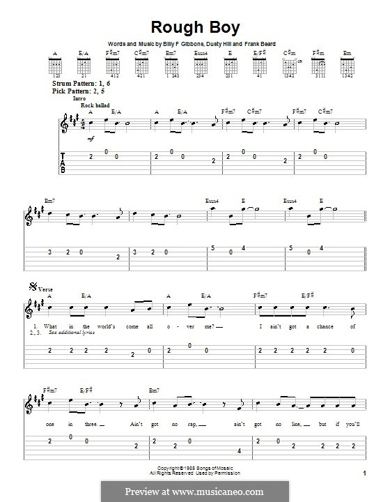 Rough Boy (ZZ Top): For guitar (very easy version) by Billy F Gibbons, Dusty Hill, Frank Lee Beard