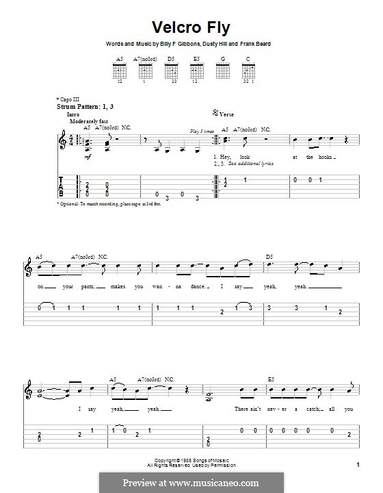 Velcro Fly (ZZ Top): For guitar (very easy version) by Billy F Gibbons, Dusty Hill, Frank Lee Beard