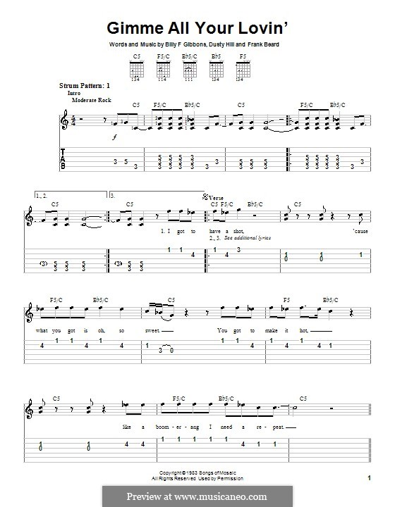 Gimme All Your Lovin' (ZZ Top): Easy guitar tab by Billy F Gibbons, Dusty Hill, Frank Lee Beard