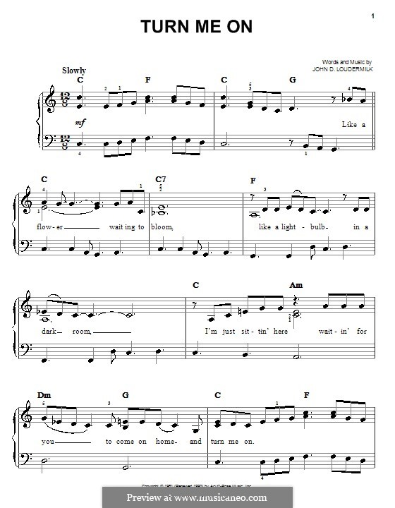 Turn Me On: For easy piano by John D. Loudermilk