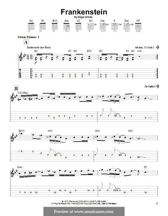 Frankenstein (from Wayne's World 2): For easy guitar by Edgar Winter
