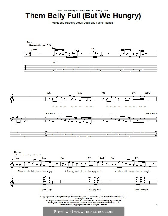 Them Belly Full (But We Hungry): For bass guitar with tab by Carlton Barrett, Lecon Cogill