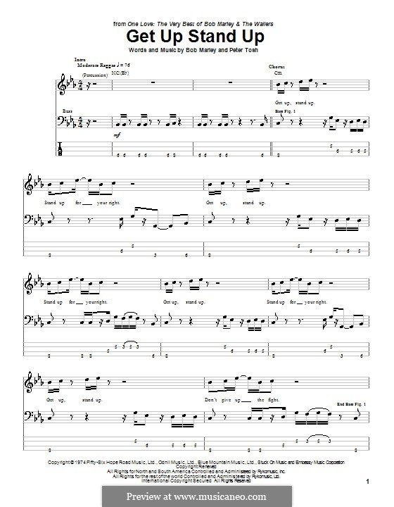 Get Up Stand Up: For bass guitar with tab by Bob Marley, Peter Tosh