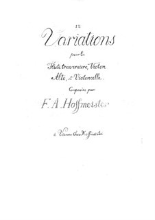 Twelve Variations for Flute, Violin, Viola and Cello: Twelve Variations for Flute, Violin, Viola and Cello by Franz Anton Hoffmeister
