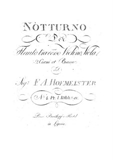 Nocturne for Flute, two Horns and Strings No.4: Nocturne for Flute, two Horns and Strings No.4 by Franz Anton Hoffmeister
