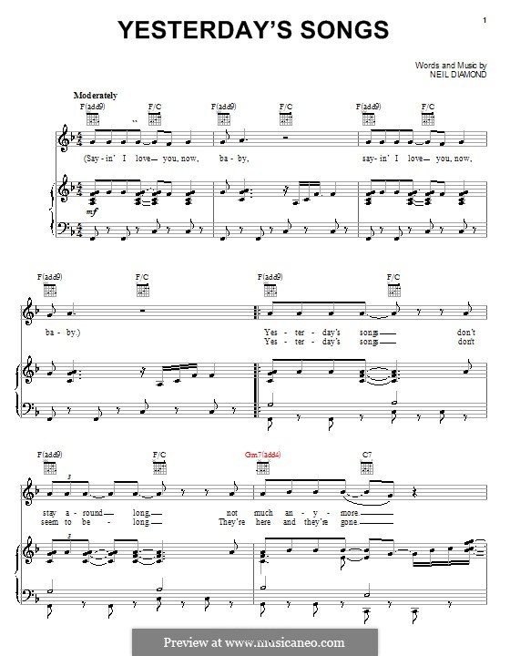 Yesterday\'s Songs by N. Diamond - sheet music on MusicaNeo